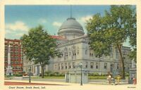 South Bend Indiana~Court House~Civil War Soldiers Monument~1939 Linen