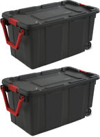 2 PACK Sterilite Latch Tote Storage Box 40 Gallon Wheels Container Case Stack