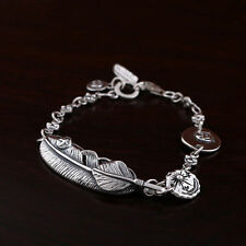 925 Solid Sterling Silver Feather Peace Dove Chain Bracelet 13.8g 17.5cm A2710