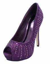 Señoras Púrpura Brillo Slip-On Sin Puntera Dama De Honor Boda Diamante Zapatos UK 3-8