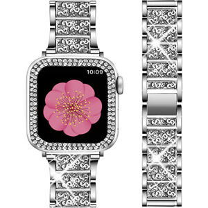 Bling Diamond Band Strap+Protective Case For Apple Watch iWatch Series 5 4 3 2 1