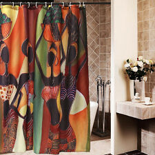 Custom Distinctive Cartoon African Woman Waterproof Bathroom Shower Curtain