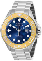 Invicta Men's Watch Pro Diver Gold Tone Bezel Blue Dial Steel Bracelet 28768