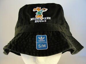 Milwaukee Bucks NBA Adidas Throwback Logo Bucket Hat Size S/M Black