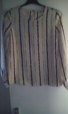 Pure Silk John Lewis Stripy cream blouse size 12, with Cufflinks. Unique!