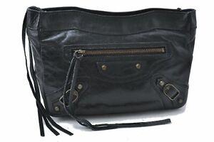Authentic BALENCIAGA Trousse Maquillage Pouch Leather 110481 Black D1584
