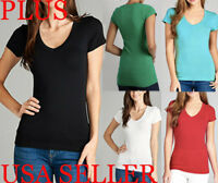 PLUS 3X Women Basic Casual V-Neck Tee Shirt Short Sleeve Solid T-Shirt Active US