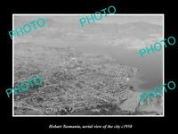 OLD POSTCARD SIZE PHOTO HOBART TASMANIA AERIAL VIEW OF THE CITY c1950