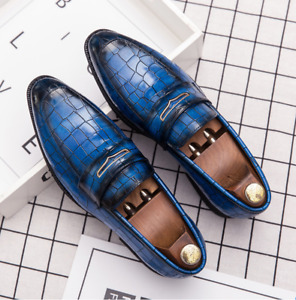Mens Pumps Pointed Toe Oxfords Loafers Retro Pu Leather Dress Formal Party Shoes