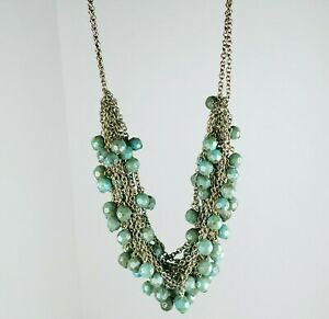 """Chains And Bobbles Beaded Turquoise/Teal  Necklace 9-10"""""""