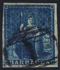 Barbados 1855 SG10 1d Deep Blue Very Fine Used '1' Bridgetown Cat. £60.00