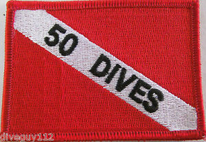 "Scuba Diving Patch Dive Flag Decal ""50 Dives"" BG0075"