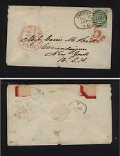 Great Britain 28 on cover to Us 1857 catalog $375.00 Kl0112-9