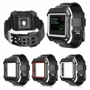 Rugged Protective Case With Silicone Wrist Strap Bands Fitbit Versa Watch Armor