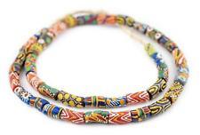 Rainbow Mix Krobo Powder Glass Beads 10mm Ghana African Multicolor Elbow