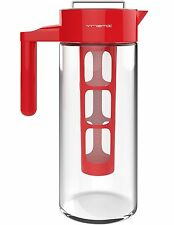 Vremi Cold Brew Iced Coffee Maker & Tea Infuser Glass Pitcher Airtight Lid - Red