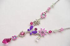 Accessorize Collana d'Argento – grandi Butterfly & Flower Design _ bellissimi colori