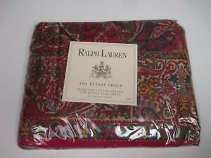 New Rare Ralph Lauren Galahad Medieval Collection Red Floral Flat Sheet - Queen