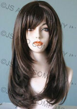 Long Straight Face Framing Chestnut Brown  Wig w. Blunt Cut Bangs WASR 8