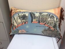 New York Pillow - Vintage Postcard Style with Faux Suede Fringe