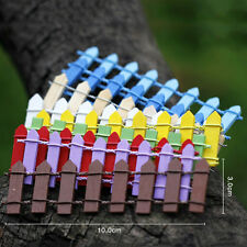 10x Small Wooden Fence for Signs Fairy Garden Bonsai Decoration Random Color