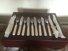 BEAUTIFUL SET OF 12 DUAL CHROMIUM STAINLESS PLATED FISH KNIVES & FORKS (FK&F128)