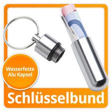 Alu Metallkapsel Aufbewahrungs Pillendose Kapsel Schlüsselanhänger aus Aluminium