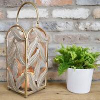 Gold Leaf Lantern Pillar Candle Holder Decorative Hurricane Ornament Centrepiece
