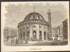 LA HALLE AU BLE PARIS IMAGE 1884 OLD PRINT