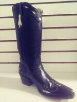 New Ferrini Women Leather Western Cowboy Western Wingtip Chocloate, V Toe 9.5