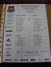 23/11/2013 Colour Teamsheet: West Ham United v Chelsea. If this item has any fau