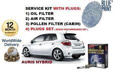 FOR TOYOTA AURIS 1.8 VVTi HYBRID 2010-> OIL AIR POLLEN FILTER KIT & DENSO PLUGS