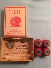 Antique H.B. Embroidery Cotton Rolls in Original Box – Turkey Red Cotton Spools.
