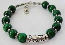 "Beautiful handmade Tibet silver green jade bracelet 7.5 ~ 8"""