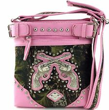 Western Cowgirl Camouflaged Mossy Oak Fores Camo Double Pistol Messenger Handbag