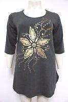 New Ladies Dark Grey Gold Flower Plus Size Curve Top Tunic