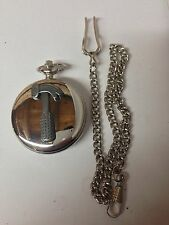 Hammer Tool Emblem on polished silver case pocket watch