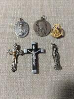 Vintage Catholic Pendants Lot of 6, St Anthony, Lourdes, France Olivewood Cross