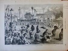 1874 CARNAVAL FÊTE BANLIEUE COURSE SAC ENFANT GOBELINS CROQUIS HORSIN-DEON