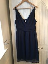 Ladies Vero Moda Navy Blue Strappy Lined Dress Size L Eur 40 Party Holiday