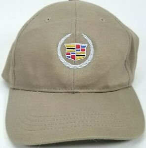CADILLAC Logo Cap Hat Tan Coast Polyester Nylon Coast General Motors GM  Strapbk