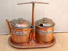 Vintage VICTORIA Mexican Copper & Silver Creamer Sugar Set w/Tray Taxco 1940s