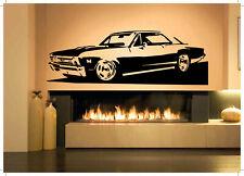 67 CHEVELLE antique car sricker, retro auto wall decal 5ft wide, room decor art