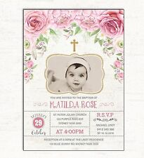 Baptism Invitation Pink Gold Floral Christening Photo Invite Christian Roses