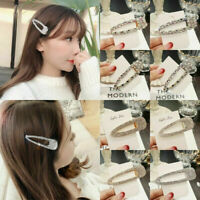 New Women Girls Crystal Hair Clip Snap Barrette Hairpin Bobby Hair Accessories