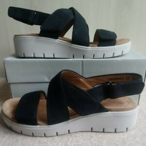 Clarks Unstructured Wedge Sandals. Un Karely Drew. Black White. Comfort UK 5.5