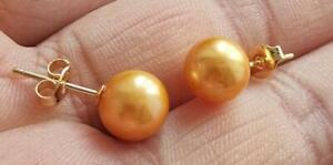 LUXURIOUS AAA 8-9MM ROUND SOUTH SEA GOLD YELLOW  PEARLS EARRING 14K GOLD