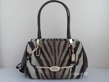 Coach NWT 26634 Madison Zebra Print Small Madeline Satchel Brown Multicolor