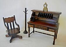 3 Classics Office Study Furniture Wood Doll House Desk Chair Coat Rack Drawers