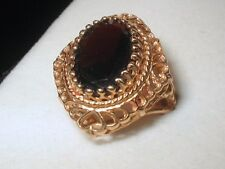 6ct Natural Red Garnet Victorian Filigree Design 10k Gold Ring Hearts Motif S7.5
